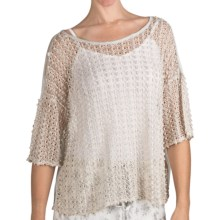True Grit Lurex Crochet Crop Shirt - Short Sleeve (For Women) in Natural - Closeouts