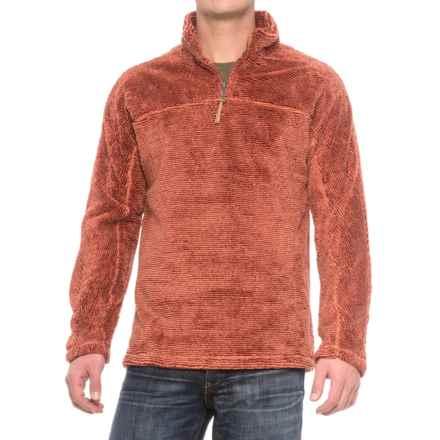 True Grit Luxe Fleece Stripe Shirt - Zip Neck, Long Sleeve (For Men) in Spice - Closeouts