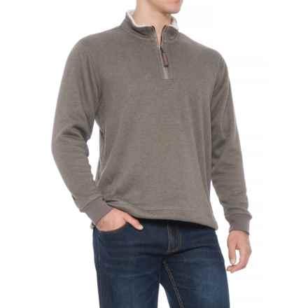 True Grit Luxe Fleece Vintage SOLID Zip Jacket - Zip Neck (For Men) in Heather Brown - Overstock
