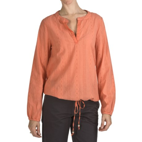 True Grit Maisie Eyelet Popover Shirt - Long Sleeve (For Women) in Tangerine