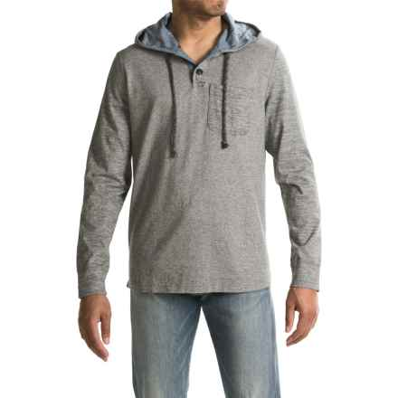 True Grit Marled Yarn Henley Hoodie Shirt - Long Sleeve (For Men) in Charcoal - Closeouts