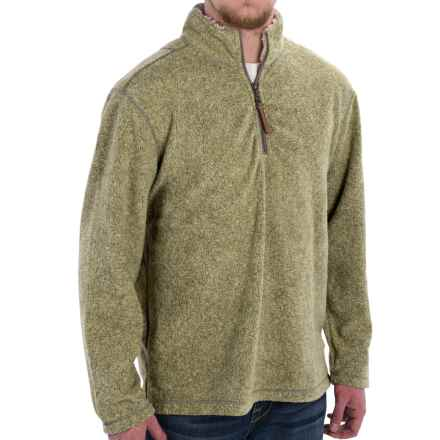 True Grit Melange Blanket Fleece Shirt- Zip Neck (For Men) in Green - Closeouts