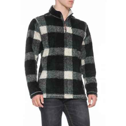 True Grit Melange Buffalo Plaid Pullover Sweater - Zip Neck (For Men) in Green/Black - Overstock