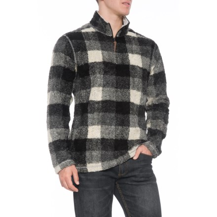 True Grit Melange Buffalo Plaid Pullover Sweater - Zip Neck (For Men) in  Grey 617be34e7