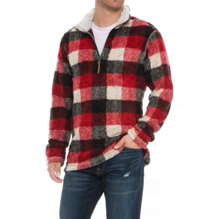 True Grit Melange Buffalo Plaid Pullover Sweater - Zip Neck (For Men) in Red/Black - Overstock
