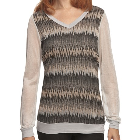 True Grit Metallic Mixed Knit Shirt - V-Neck, Long Sleeve (For Women) in Black