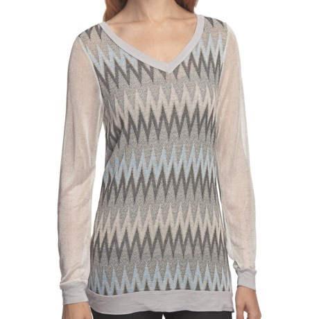 True Grit Metallic Mixed Knit Shirt - V-Neck, Long Sleeve (For Women) in Heather