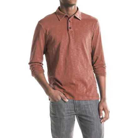 True Grit Modern Slub Polo Shirt - Long Sleeve (For Men) in Brick - Closeouts