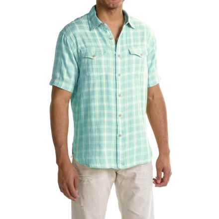 True Grit Mojito Check Shirt - Short Sleeve (For Men) in Sky - Closeouts
