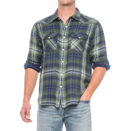 True Grit Mountain High Montana Western Shirt - Snap Front, Long Sleeve (For Men) in Blue/Green - Closeouts
