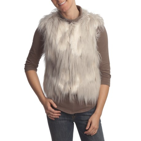True Grit Novelty Faux Fur Shag Vest (For Women) in Natural