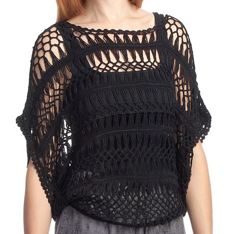 True Grit Open Weave Pullover - Short Dolman Sleeve (For Women) in Black