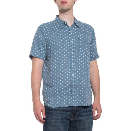 9b3341957d3 True Grit Palms Lux Linen Shirt - Short Sleeve (For Men) in Soft Blue