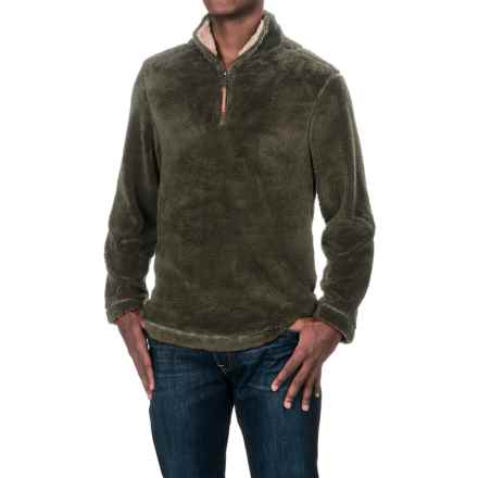 True Grit Pebble Pile Fleece Sweater - Zip Neck (For Men) in Vintage Olive - Closeouts