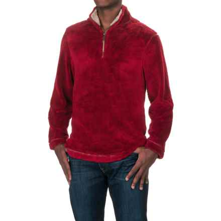 True Grit Pebble Pile Fleece Sweater - Zip Neck (For Men) in Vintage Red - Closeouts