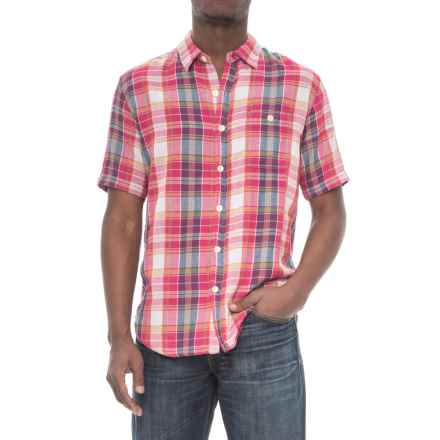 True Grit Plaid Pocket Shirt - Short Sleeve (For Men) in Red - Closeouts
