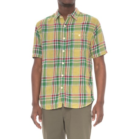 True Grit Plaid Pocket Shirt - Short Sleeve (For Men) in Yellow