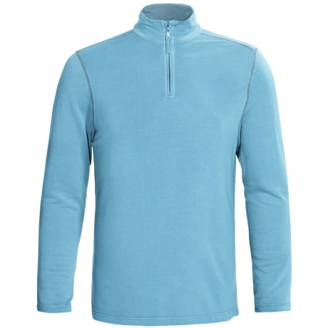 True Grit Pullover Shirt - TENCEL®, Zip Neck, Long Sleeve (For Men) in Crystal Blue