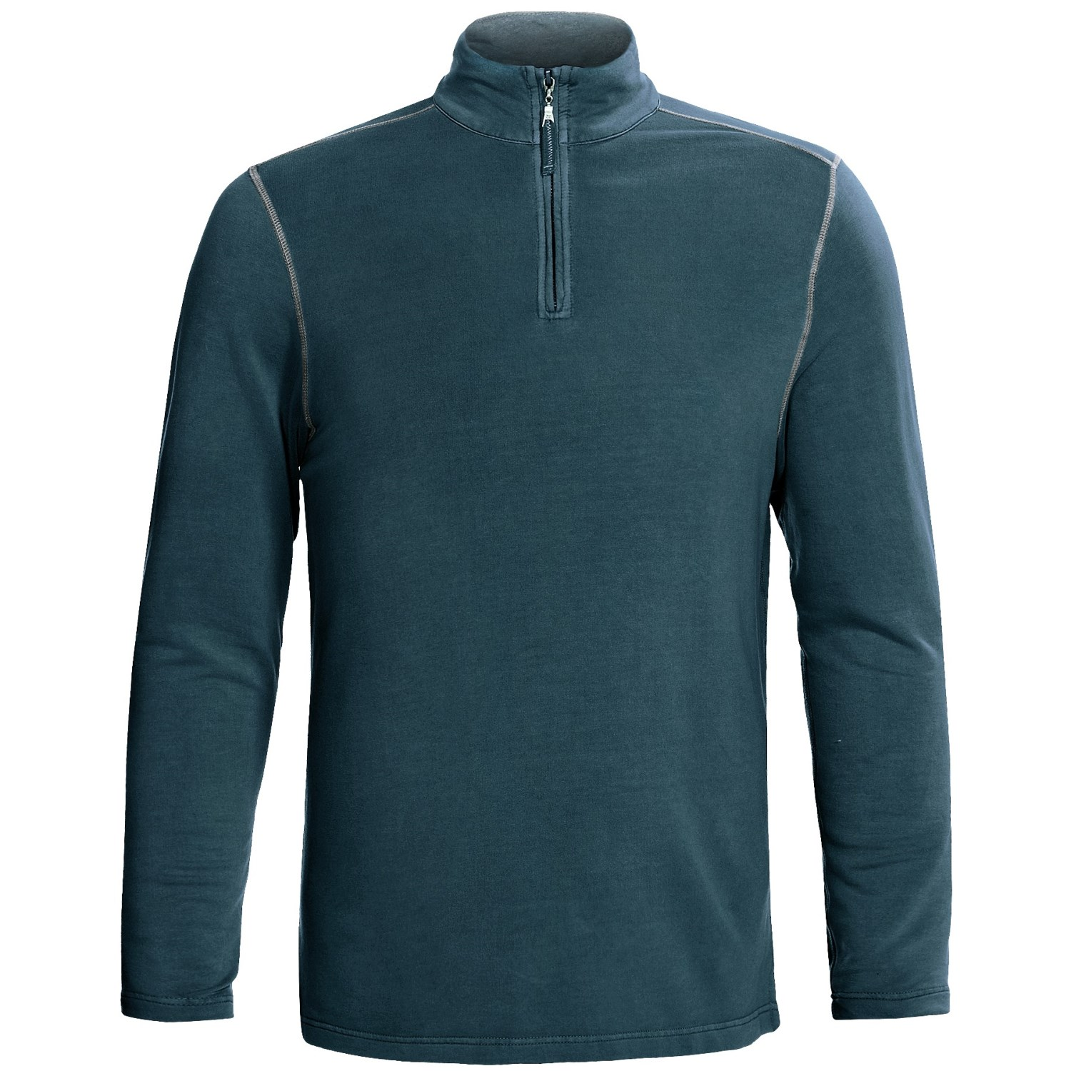 True grit pullover shirt tencel zip neck long sleeve for Pull over shirts for mens