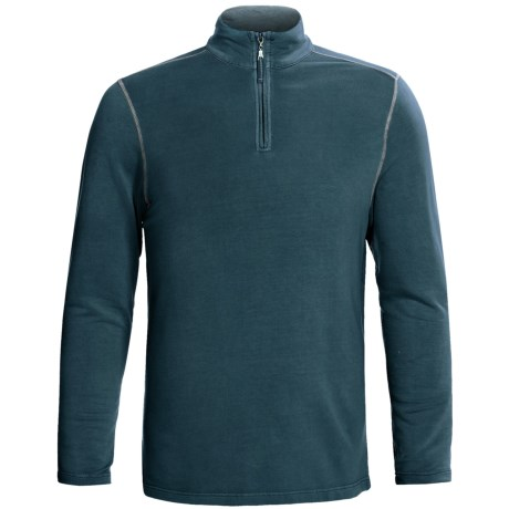 True Grit Pullover Shirt - TENCEL®, Zip Neck, Long Sleeve (For Men) in Industrial Blue