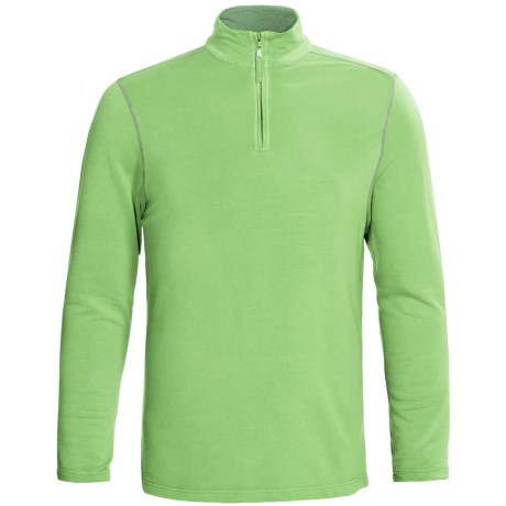 True Grit Pullover Shirt - TENCEL®, Zip Neck, Long Sleeve (For Men) in Surf Green
