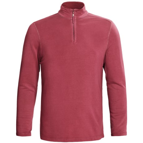 True Grit Pullover Shirt - TENCEL®, Zip Neck, Long Sleeve (For Men) in Vintage Red