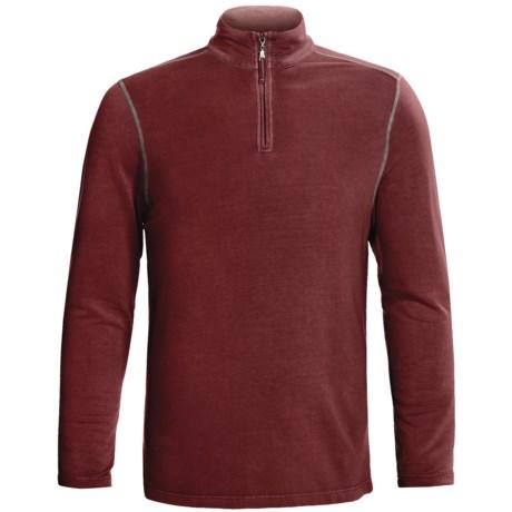 True Grit Pullover Shirt - TENCEL®, Zip Neck, Long Sleeve (For Men) in Wine Country