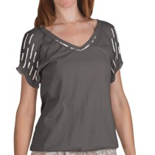 True Grit Raw Edge Bugle Bead Shirt - Short Sleeve (For Women) in Faded Black - Closeouts