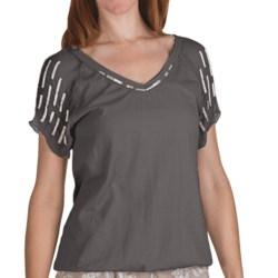 True Grit Raw Edge Bugle Bead Shirt - Short Sleeve (For Women) in Faded Black