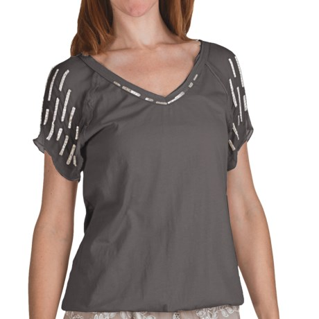 True Grit Raw Edge Bugle Bead Shirt - Short Sleeve (For Women) in Light Natural