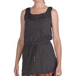 True Grit Ruffled Chiffon Trim Tank Top -  Slub Cotton, Tie Waist (For Women) in Faded Black
