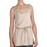 True Grit Ruffled Chiffon Trim Tank Top -  Slub Cotton, Tie Waist (For Women)