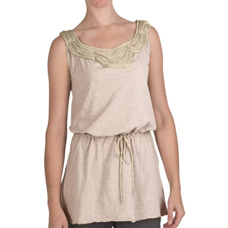 True Grit Ruffled Chiffon Trim Tank Top -  Slub Cotton, Tie Waist (For Women) in Light Natural