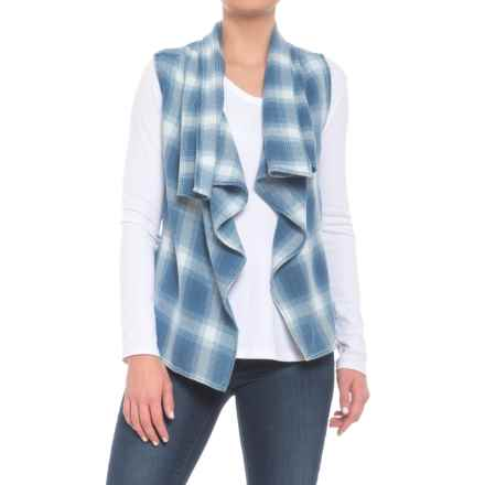 True Grit Rugged Indigo Plaid Vest - Open Front (For Women) in Denim - Closeouts