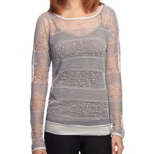 True Grit Sequin Crochet Shirt - Long Sleeve (For Women) in Light Heather Grey - Closeouts