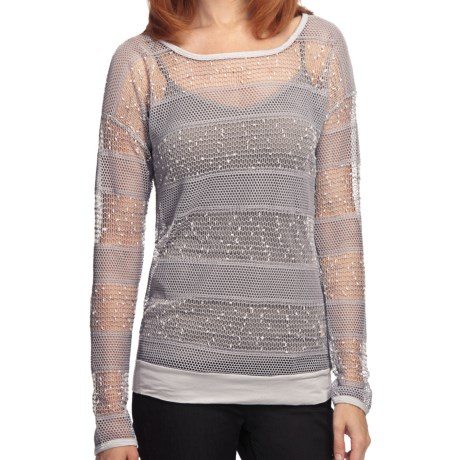 True Grit Sequin Crochet Shirt - Long Sleeve (For Women) in Light Heather Grey