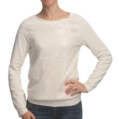 True Grit Sequin-Knit Pullover Shirt - Long Raglan Sleeve (For Women) in Chalk