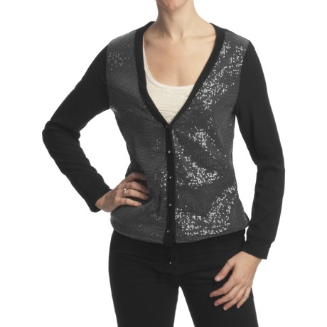 True Grit Sequin Knit Rayon Cardigan Sweater - Long V-Neck (For Women) in Black