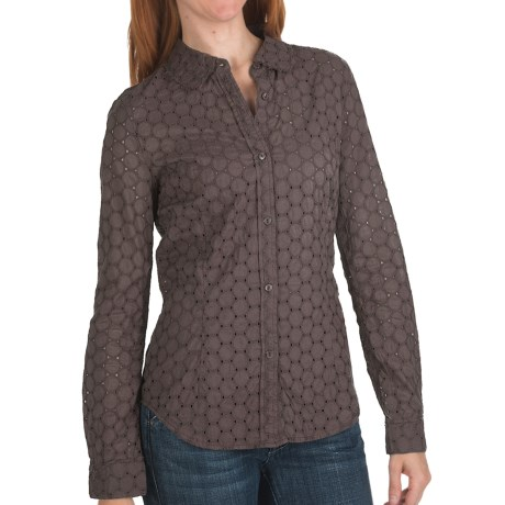 True Grit Sheer Circles Eyelet Shirt - Long Sleeve (For Women) in Brown