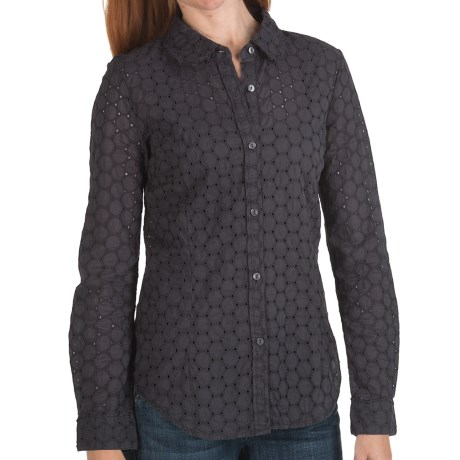 True Grit Sheer Circles Eyelet Shirt - Long Sleeve (For Women) in Navy