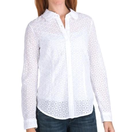 True Grit Sheer Circles Eyelet Shirt - Long Sleeve (For Women) in White