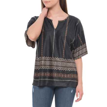 True Grit Sierra Suede Isabel Shirt - Short Sleeve (For Women) in Black - Closeouts