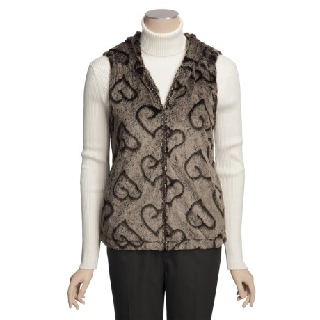 True Grit Silky Faux Fur Crush Vest - Lined, Hooded (For Women) in Brown