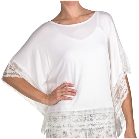 True Grit Silky Slub Knit Lace Trim Shirt - Dolman Sleeve (For Women) in White