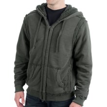 True Grit Slub Cashmere Terry Jacket - Sherpa Lining (For Men) in Vintage Black - Closeouts