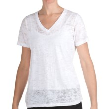True Grit Slub Cotton Burnout Loose T-Shirt - V-Neck, Short Sleeve (For Women) in White - Closeouts