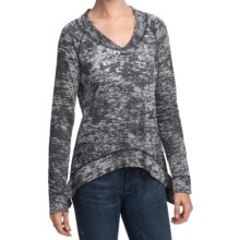 True Grit Slub Cotton Burnout T-Shirt - Long Sleeve (For Women) in Black - Closeouts