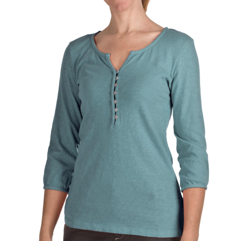 True grit slub cotton henley shirt 3 4 sleeve for women for 3 4 henley shirt