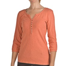 True Grit Slub Cotton Henley Shirt - 3/4 Sleeve (For Women) in Tangerine - Closeouts