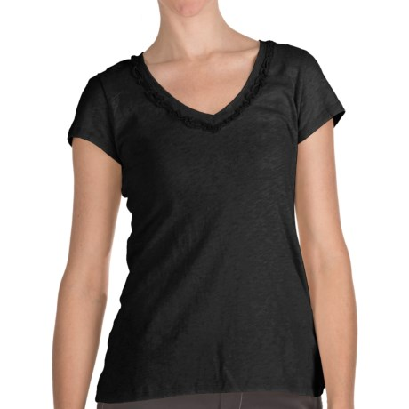 True Grit Slub Cotton Ruffle Shirt - Short Sleeve (For Women) in Black
